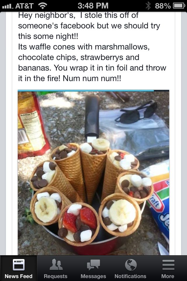 ice cream cones filled with marshmellow, chocolate, berries, etc. Wrap them in foil and throw them over the fire