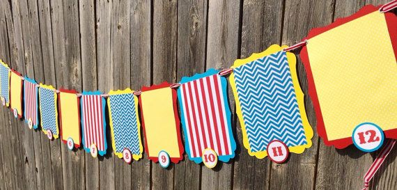 Circus Birthday Photo Banner First Year Photo by SparklingConfetti
