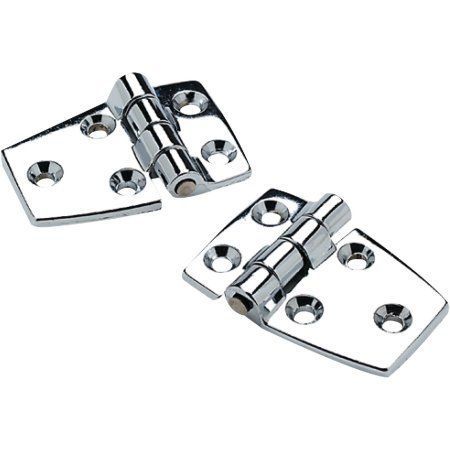SeaChoice 50-34401 (2) 2-1/4 inch x 1-1/2 inch Chrome Plated Zinc 3/4 inch Short Side Hinges, Silver