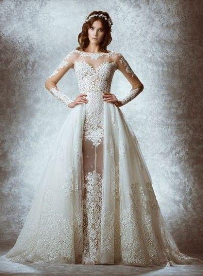 Abito da sposa bianco 2015 - Vestito a manica lunga di Zuhair Murad con sovragonna in pizzo