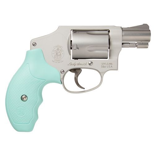 The double-action Smith & Wesson 642 Lady Smith .38 Special +P Revolver features colored grips and a lightweight alloy frame.
