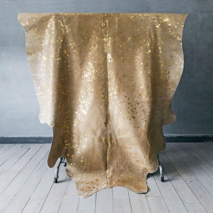 Speckled Gold Cow Skin Rug