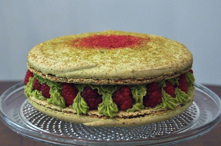 Pistachio/Raspberry Giant Macaron - By Josephine