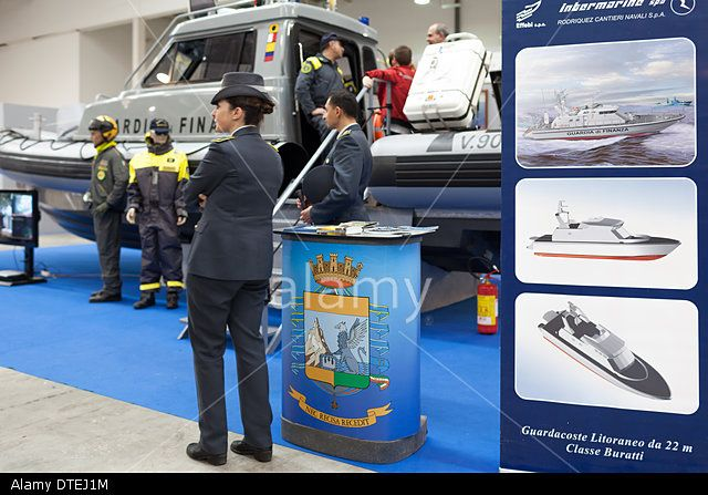 ROME, ITALY - FEBRUARY 16, 2014: At Fiera di Roma, during the Big Blue Expo, the stand of Italian Marine Financial Guard. © Corina Daniela Obertas/Alamy Live News