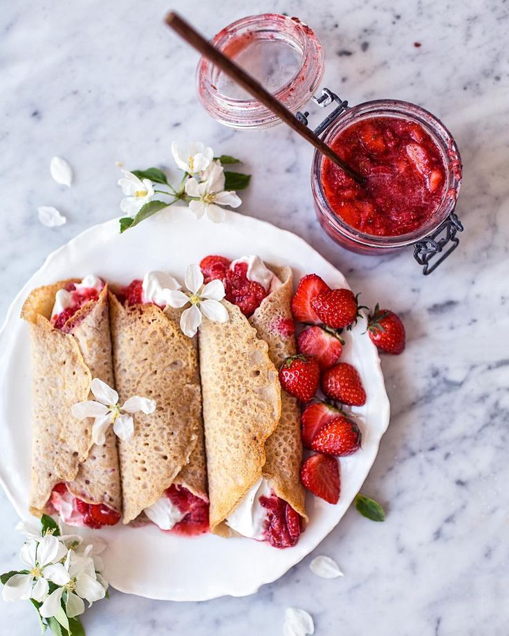 stuffed gluten-free vegan crepes with strawberry flaxseed jam & coconut whipped cream