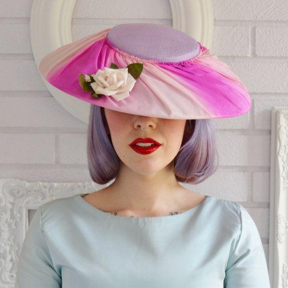 Vintage Pink and Lilac Wide Brim Hat.