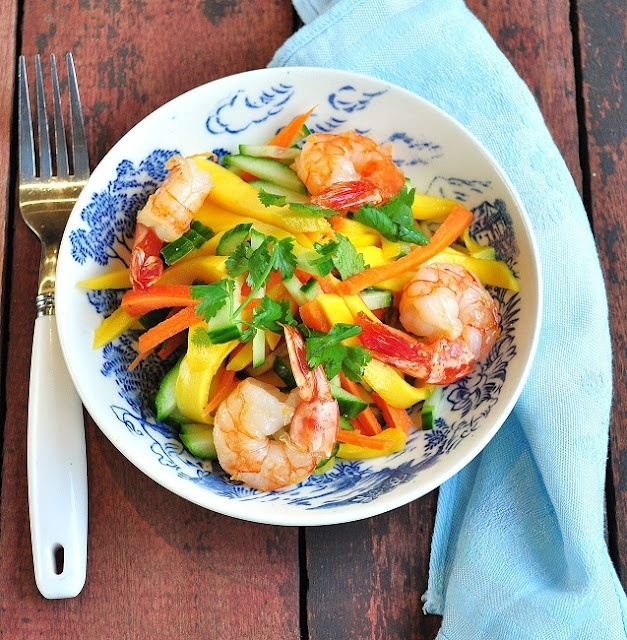 Thai Mango Salad with Grilled Shrimp - Verses from my Kitchen