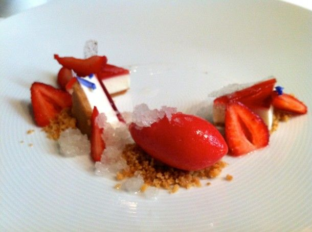 "The French Laundry Restaurant Review- Cream Cheese ""Bavarois""- Acacia honey, Silverado Trail strawberries, and black pepper ""Aigre-Doux"""
