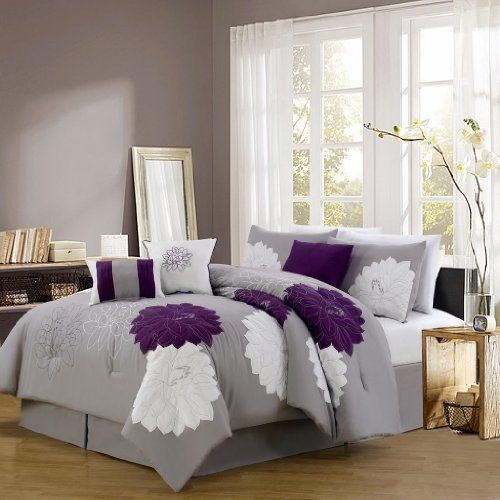 purple gray and white embroidered floral bedding set purple bedroom