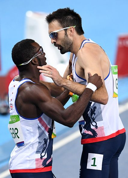 Britain's Nigel Levine and Britain's Martyn Rooney react after competing in the…