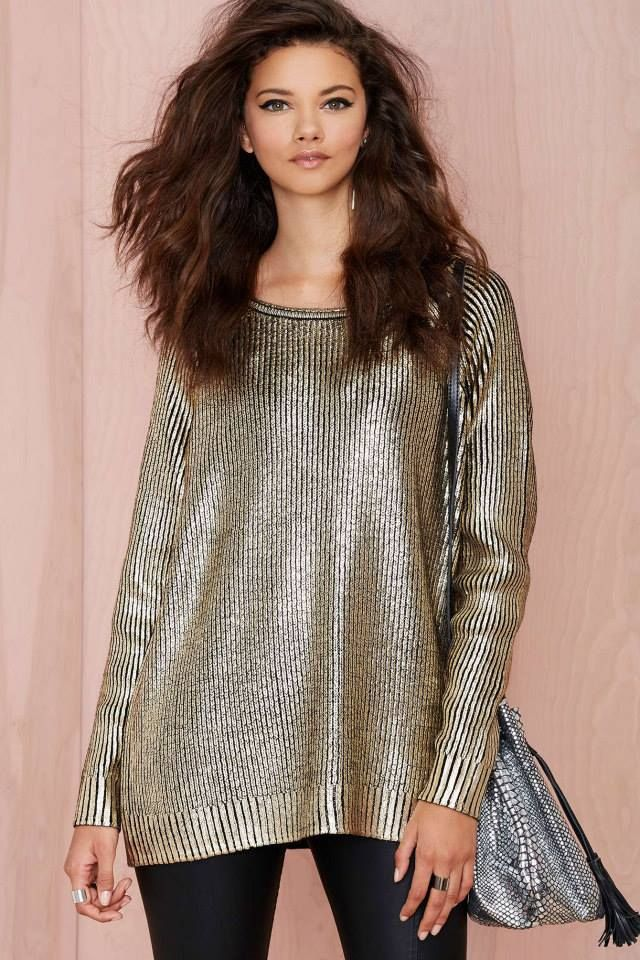 Metallic jumpers are a must have this winter! Nasty Gal.
