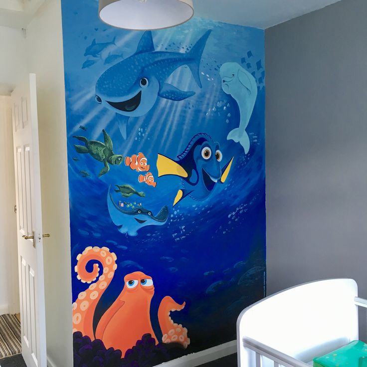 Finding dory painted wall mural