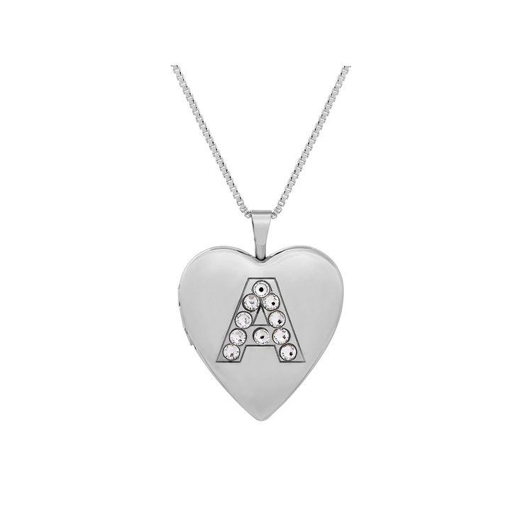"Sterling Silver Crystal Monogram Heart Locket Necklace, Women's, Size: 18"", Grey"