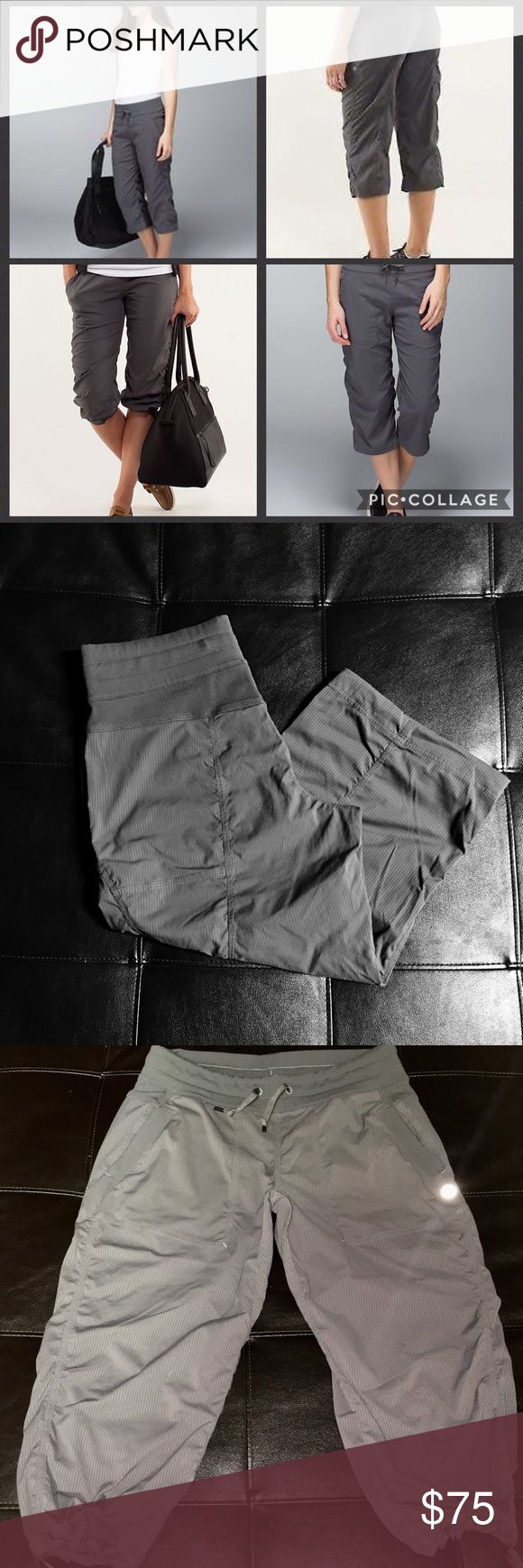 Lululemon dance studio crops fossil gray size 8 These have been worn a few times but cared for gently. The very top of the waistband in the front is rolled. Some Lulu lovers have an issue with this I personally do not. Lululemon's dance studios are notorious for this issue. It doesn't change the way they function or the way they look. The first pic are stock Internet photos pics 2 and 3 are the actual item. Fossil gray size 8 my price is firm lululemon athletica Pants Track Pants & Joggers