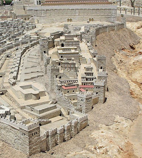 The Biblical City of David in the period of Herod's Temple, from the Holyland Model of Jerusalem. The southern wall of the Temple Mount appears at top.