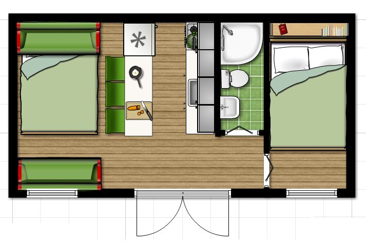 I play a lot with floorplanner.com   This is the layout that I have set my mind on right now. It's roughly 6m x 3m   (or translated 20 ft x 10 ft). On the left it's a sofa for the day that converts to a bed for the night.