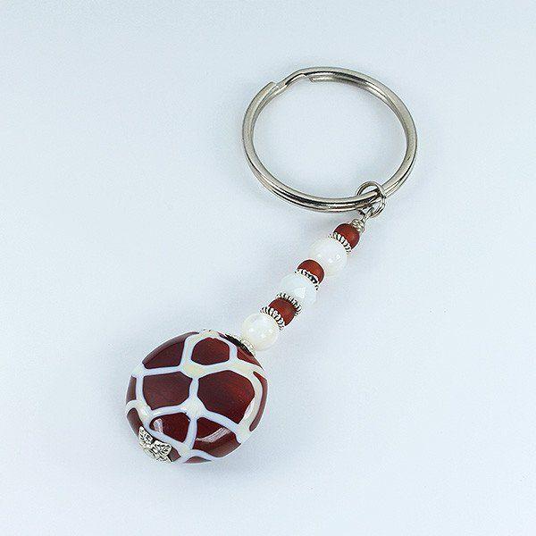 Murano glass bead Giraffe keyring.
