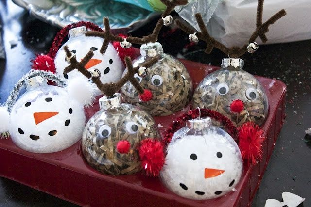 clear glass ornaments craft ideas   rudolph and snow man clear ornament craft ideas   Chirstmas ...