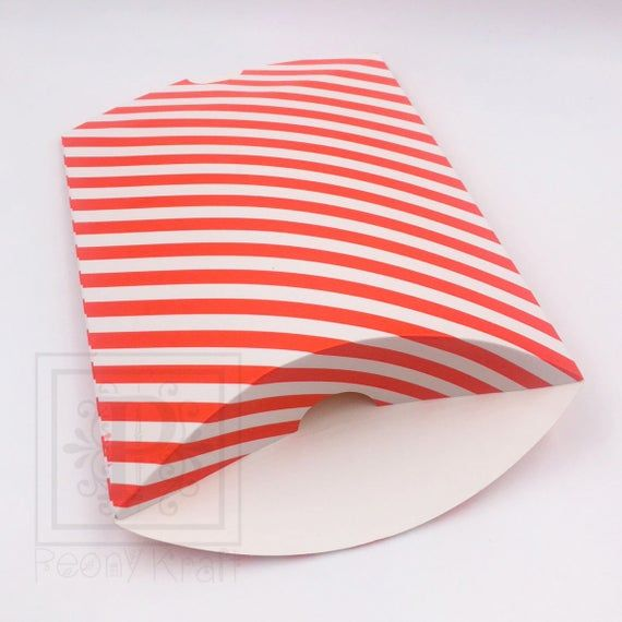 25 Red Striped Pillow Boxes, Wedding Favor Boxes, Baby Shower Favor Boxes, Holiday Gift Boxes, Pillo