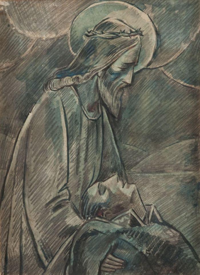 Zygmunt Waliszewski - Projekt do reliefu w brązie - Chrystus z żołnierzem, 1931 r.