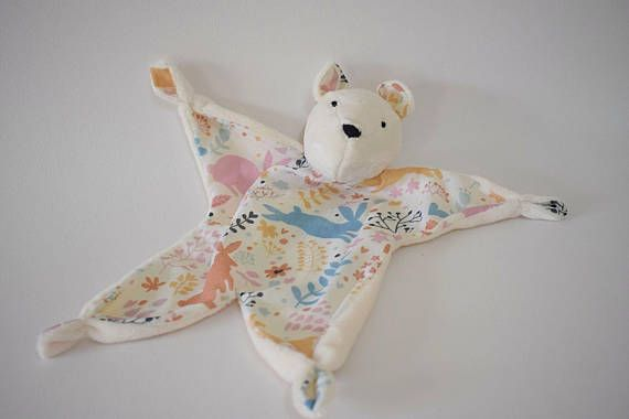 Personalised teddy bear comforter, these beautiful comforters have been designed by myself Handmade from soft luxury minky fabric and quality cottons , They were originally designed in bunny form for my baby son who liked the soft texture , Now two , he has replaced his dummy with