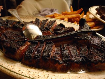 Porterhouse steak for two.Rated best steak house 28 years in a row. In business 125 years. Peter Luger's..see ya soon.