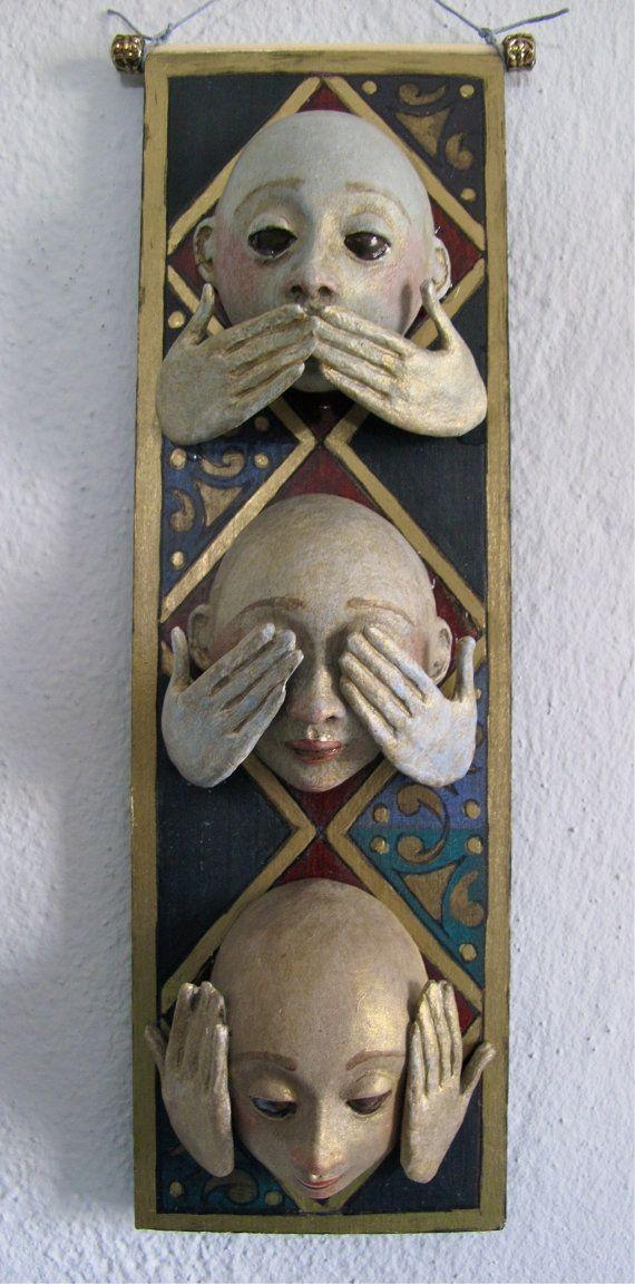 Hear No Evil See No Evil Speak No Evil masks by FriedericyDolls