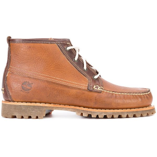 Timberland lace-up boots featuring polyvore, men's fashion, men's shoes, men's boots, brown, timberland mens shoes, mens brown boots, mens leather lace up boots, mens brown shoes and mens leather lace up shoes
