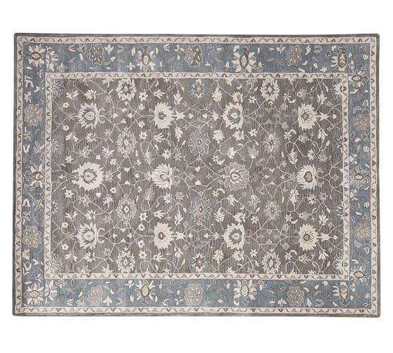 Mila Grey And Blue Persian Rug Synthetic Rugs Blue