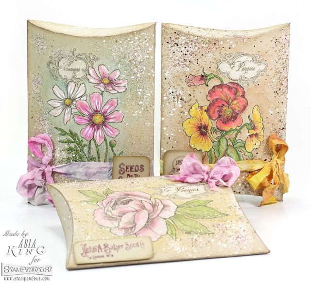 #Cre8time alert! Create pillow box seed packets with a shabby chic touch. #Stampendous diy ...