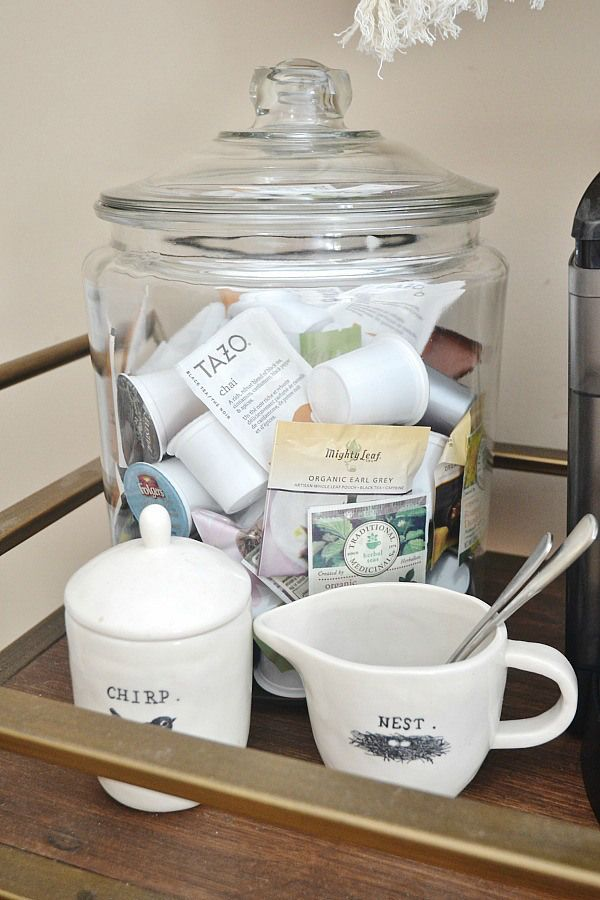 Store tea bags K-cups in a clear glass jar. Great storage idea! DIY coffee cart - lizmarieblog.com