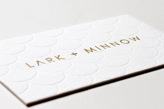 30 Ultra-Creative Business Cards For A Killer First Impression #refinery29  http://www.refinery29.com/cool-los-angeles-business-cards#slide-29  Designed by Canopy and printed by Iron Curtain Press, we adore the textured element on jewelry brand Lark + Minnow's classy paper product.