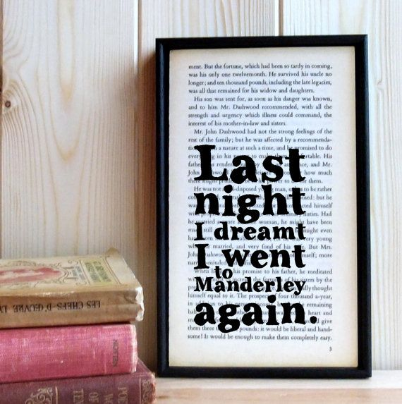 Rebecca quote on old framed book page Daphne du by BookishlyUK, £24.75