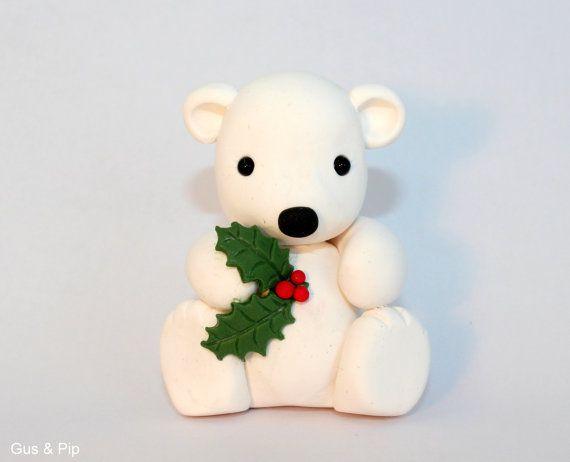 Cute little Christmas Polar Bear Ornament/ Sculpture/ Cake Topper