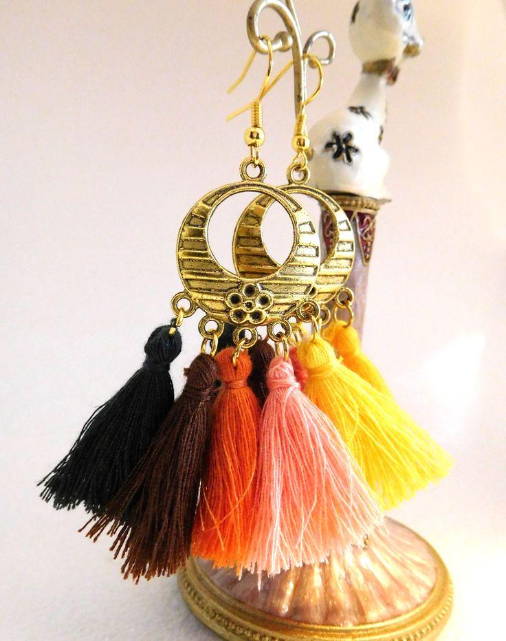 Boho Tassell Earrings in autumnal tones, goldtone hoop, gold plated ear wires