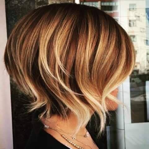 cool balayage short bob with wispy ends and layers...