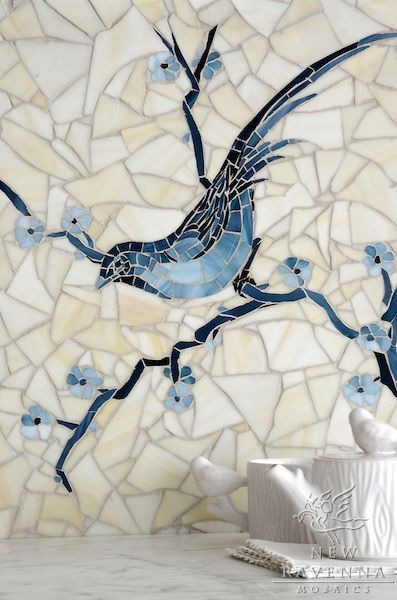 Chinoiserie is a hand cut jewel glass mosaic shown in Marcasite, Pewter, Mica with a Quartz sea glass finished background.