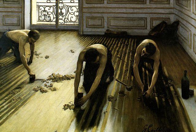 Gustave Caillebotte; I piallatori di parquet; 1875; olio su tela; Musée D'Orsay, Parigi.