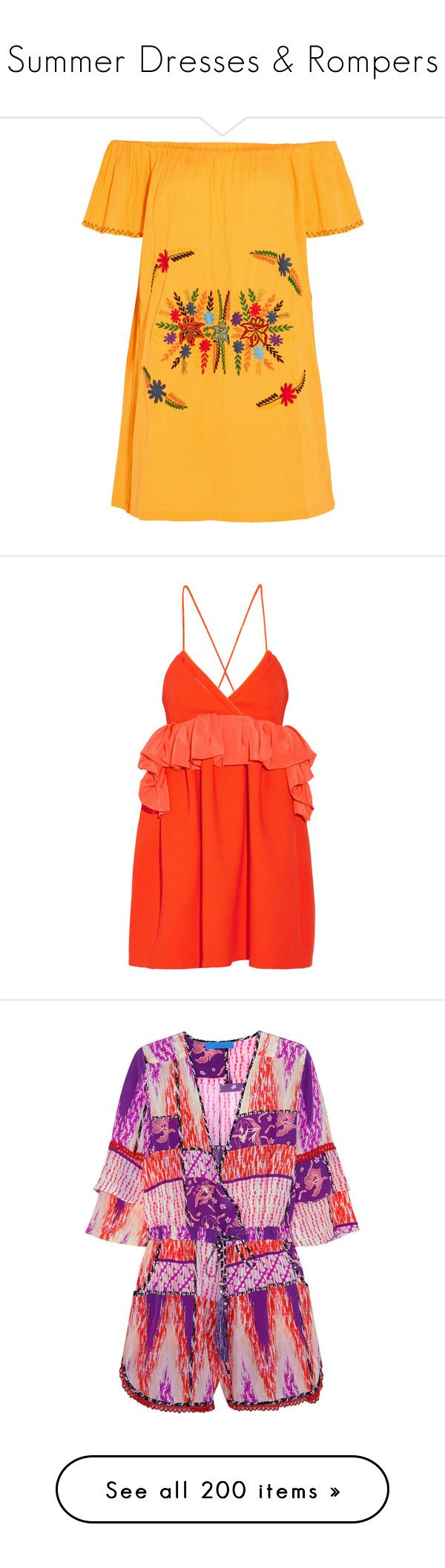"""""""Summer Dresses & Rompers"""" by pocahaunted666 ❤ liked on Polyvore featuring dresses, yellow, off the shoulder mini dress, embroidered dress, cotton mini dress, yellow cotton dress, short dresses, vestido, orange and ruffle wrap dress"""
