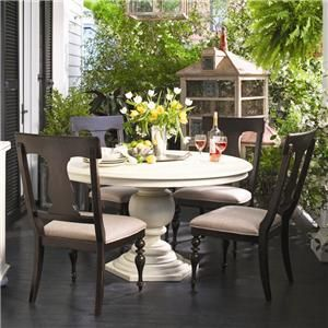 Paula Deen Home Round Dining Table W/ 4 Splat Back Dining Side Chairs By  Paula