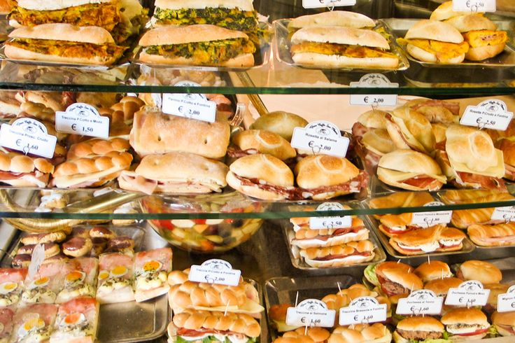 The display at an Italian paninoteca - a great place to buy sandwiches like panini and tramezzino, bread, cold cuts and cheese!