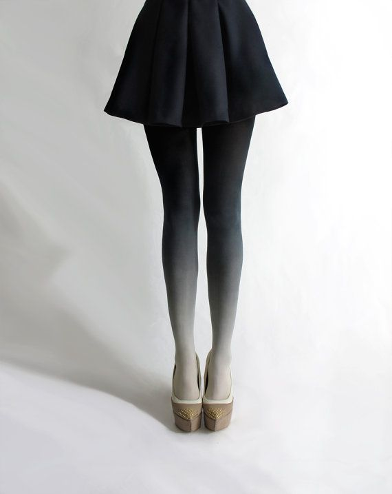 Ombré tights in Coal... had to pin these, too. | 30 bucks from BZRBZR - http://www.etsy.com/listing/95156749/ombre-tights-in-coal