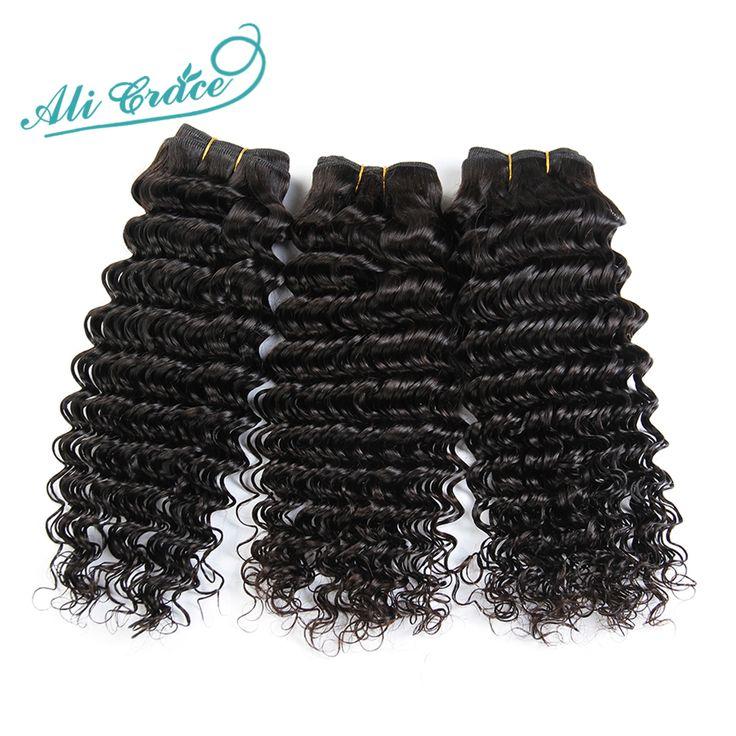 Ali Grace Hair 3Bundles 8A Brazilian Virgin Hair Deep Wave Curly Human Hair Weave Natural Black Brazilian Virgin Hair Deep Wave