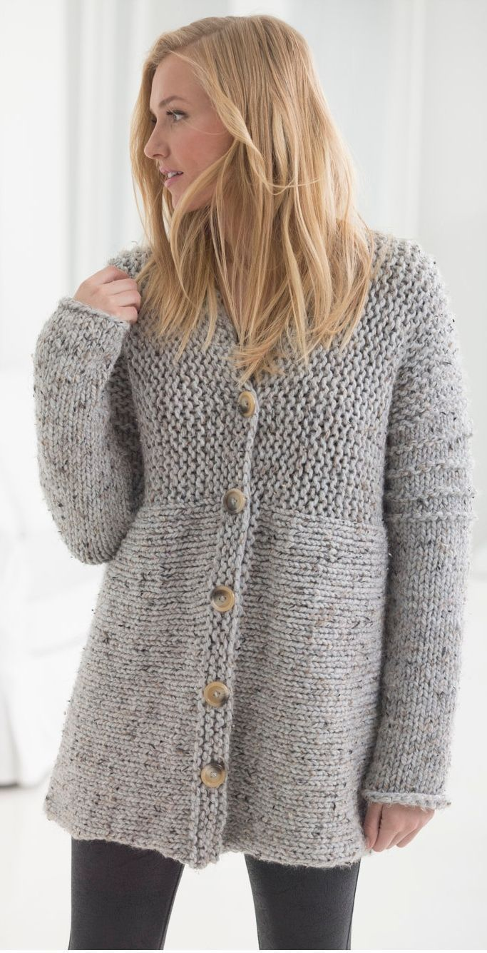 Handknit cardigan knitted from side to side +Free Knitting ...