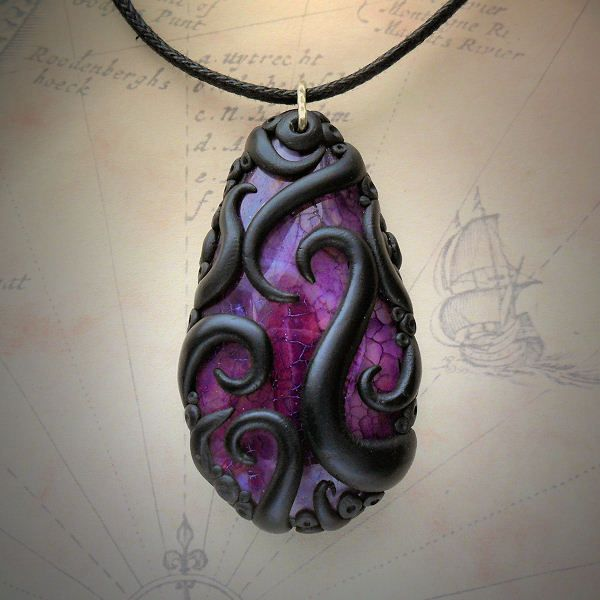 """""""My tentacled agate and labradorite necklaces http://www.cthulhujewellery.com"""""""