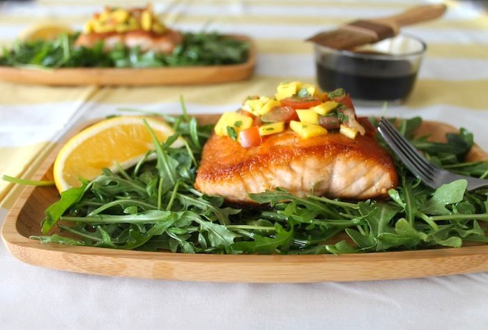 Whiskey Glazed Salmon with Mango Habanero Chutney