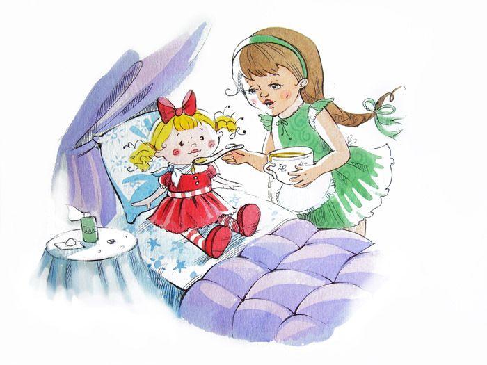 Девочка укладывает куклу спать картинки для детей