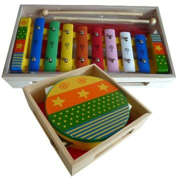 Childrens Wooden Musical Instruments Set - Xylophone with Song Sheet and Tambourine - presented in separate wooden boxes: Amazon.co.uk: Baby...