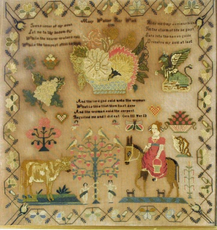 Mary Waller ~ 1850 ~ wrought by 'Mary Waller Her Work 1850', in embroidered silk on linen with religious verses and motifs of Adam and Eve, girl on donkey, a cow, a griffin, fruit, flower basket and a conch shell, the whole in sawtooth and running vine border.