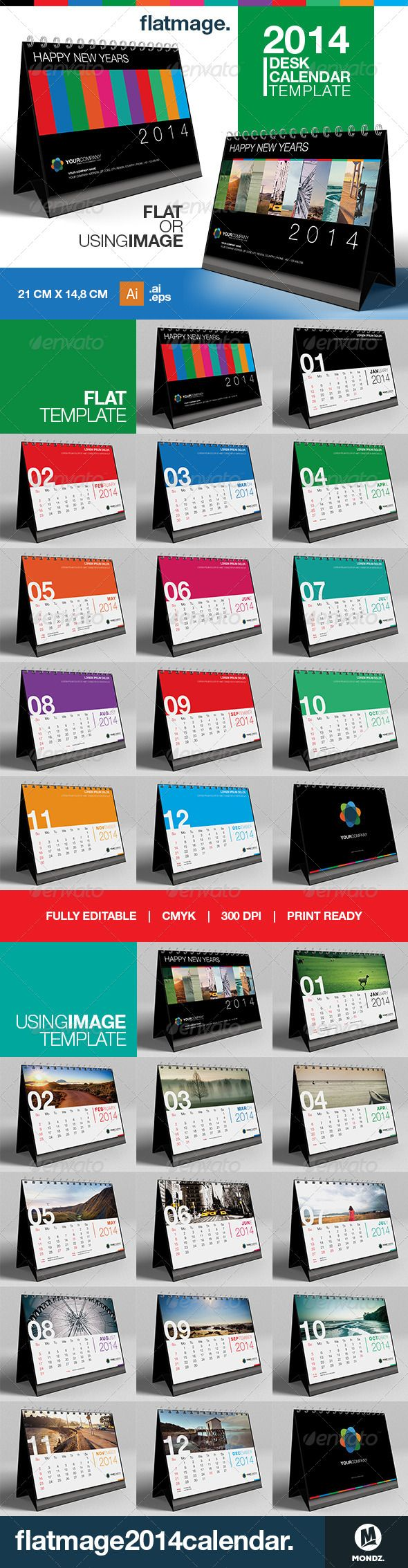 Flatmage Desk Calendar 2014 Template #GraphicRiver